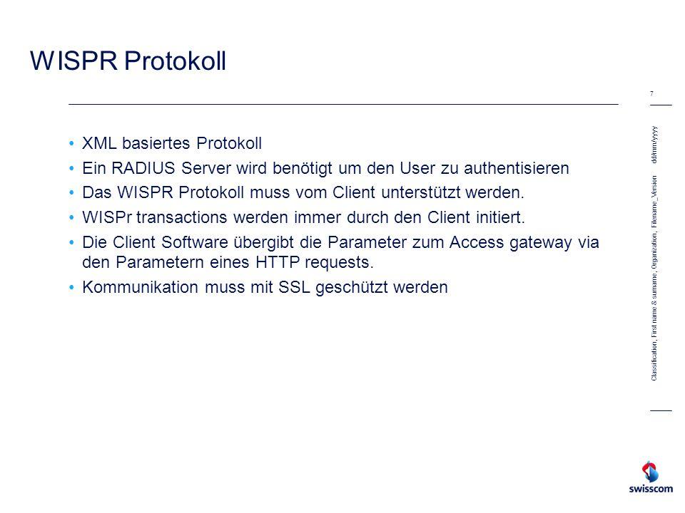 WISPR Protokoll XML basiertes Protokoll