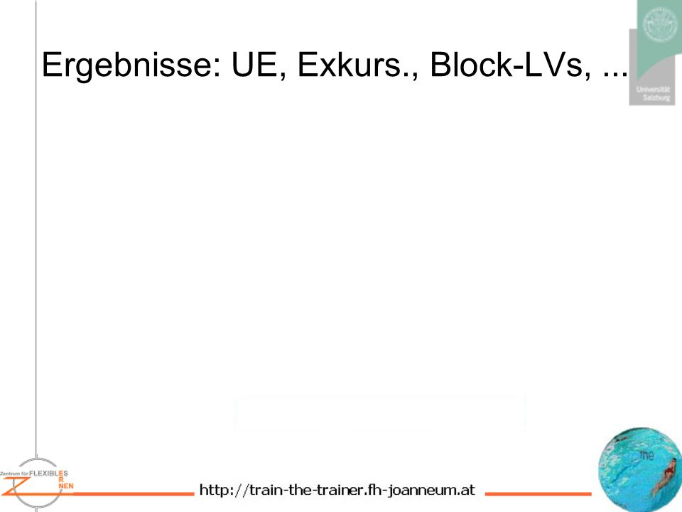 Ergebnisse: UE, Exkurs., Block-LVs, ...