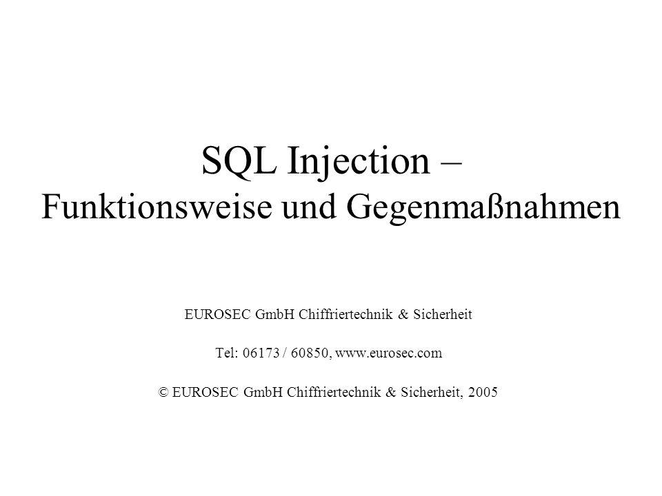 SQL Injection – Funktionsweise und Gegenmaßnahmen