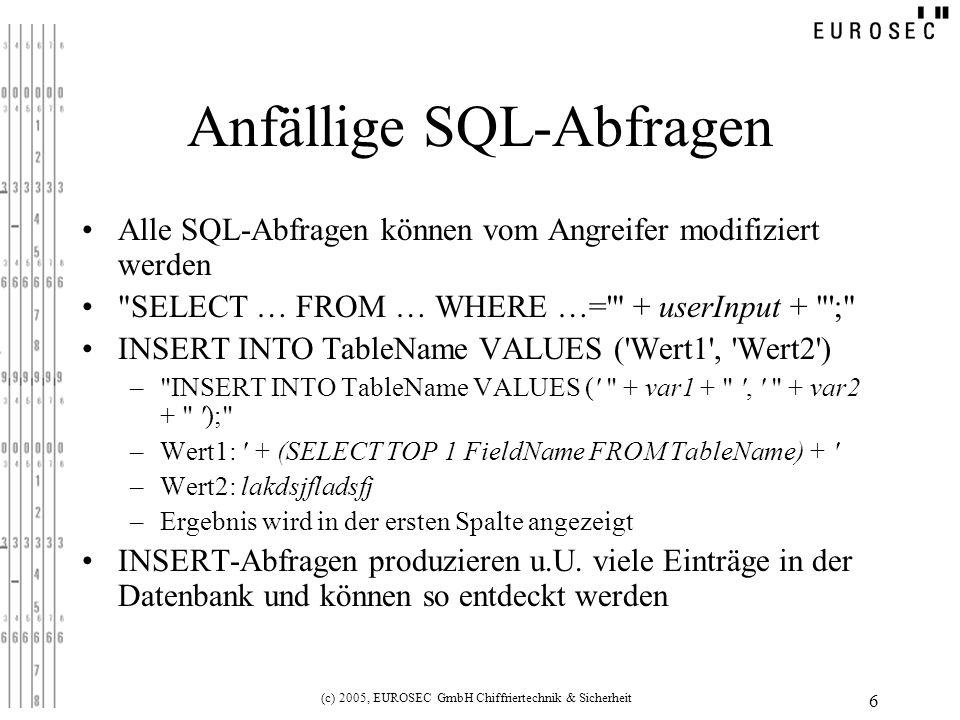 Anfällige SQL-Abfragen