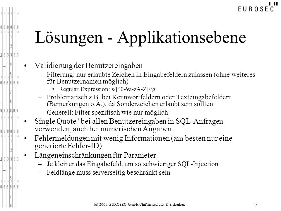 Lösungen - Applikationsebene