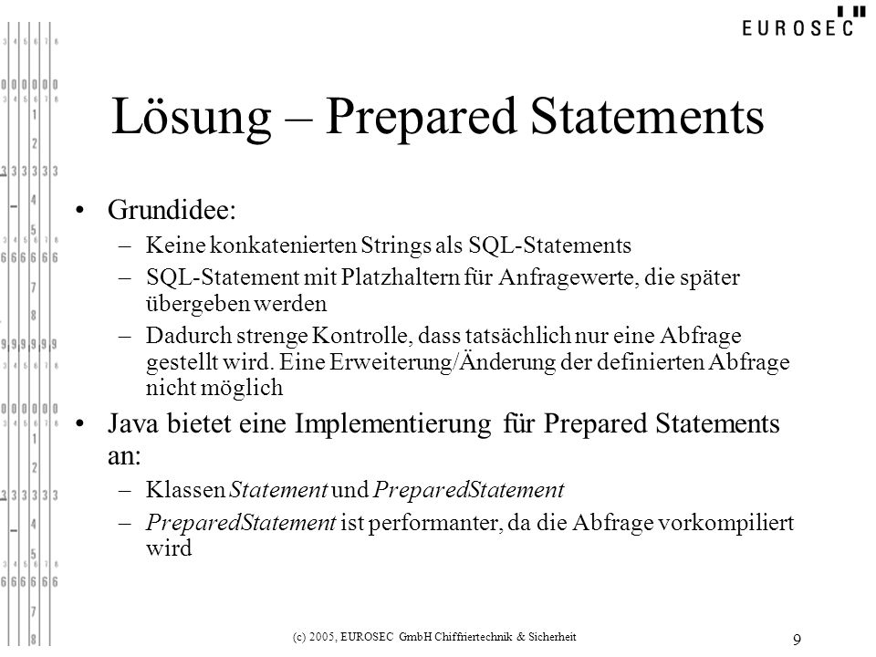Lösung – Prepared Statements