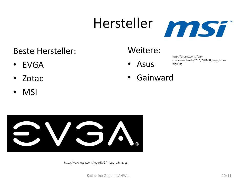 Hersteller Beste Hersteller: Weitere: EVGA Asus Zotac Gainward MSI