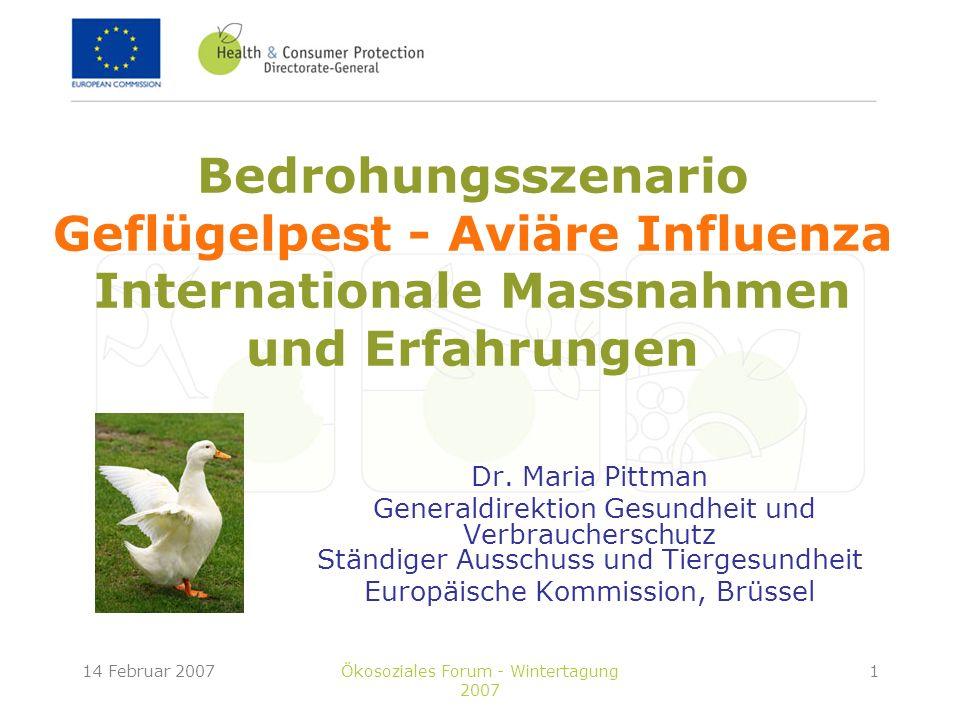 Bedrohungsszenario Geflügelpest - Aviäre Influenza Internationale Massnahmen und Erfahrungen