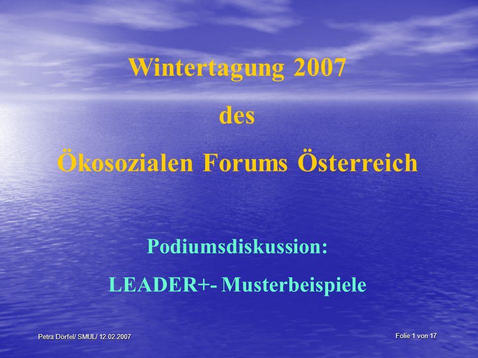 Ökosozialen Forums Österreich LEADER+- Musterbeispiele