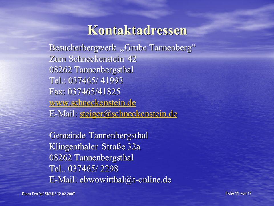 """Kontaktadressen Besucherbergwerk """"Grube Tannenberg"""
