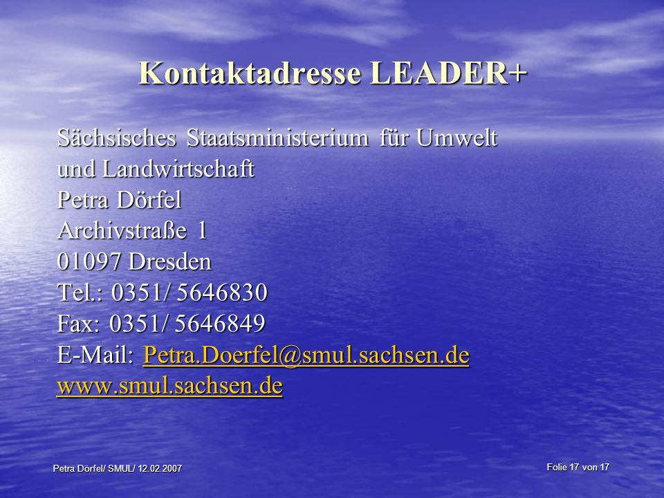 Kontaktadresse LEADER+