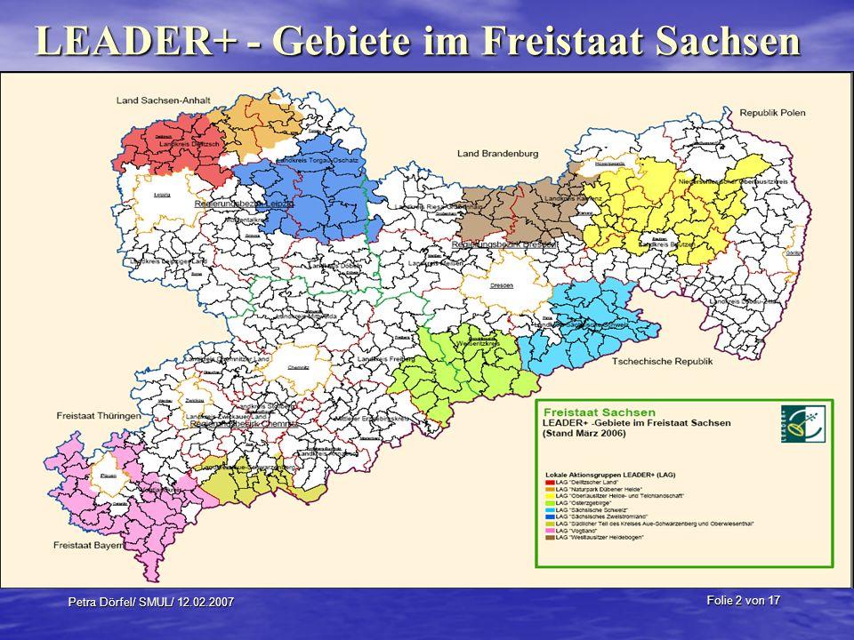 LEADER+ - Gebiete im Freistaat Sachsen
