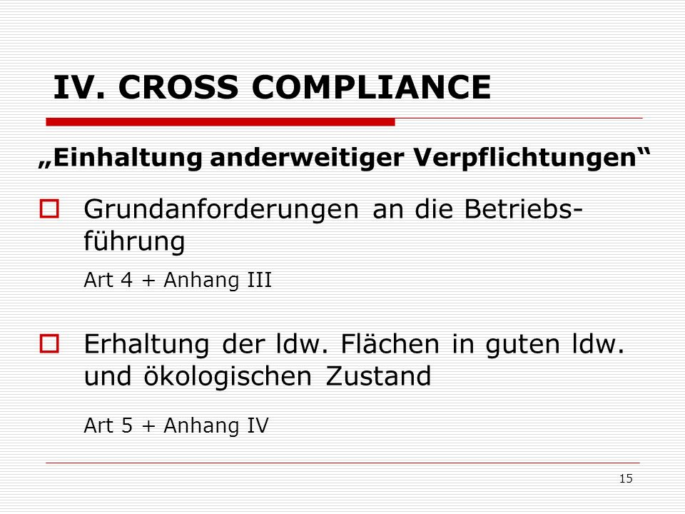 IV. CROSS COMPLIANCE Grundanforderungen an die Betriebs-führung