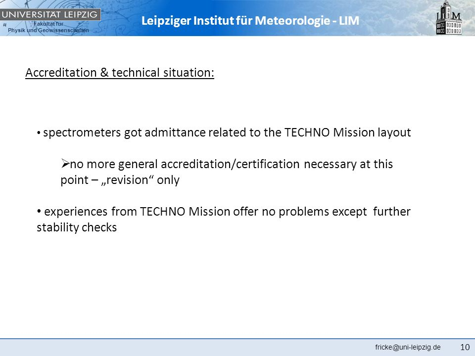 Accreditation & technical situation: