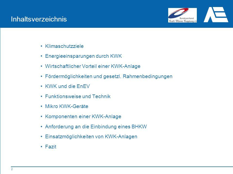 Inhaltsverzeichnis Klimaschutzziele Energieeinsparungen durch KWK