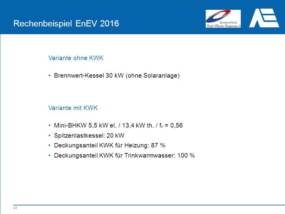 Rechenbeispiel EnEV 2016 Variante ohne KWK