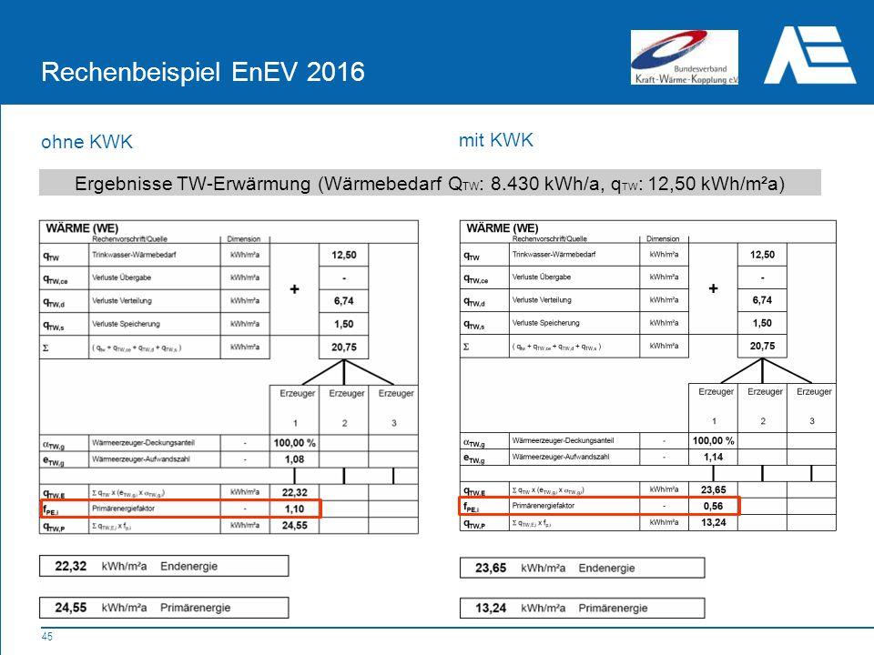 Rechenbeispiel EnEV 2016 ohne KWK mit KWK