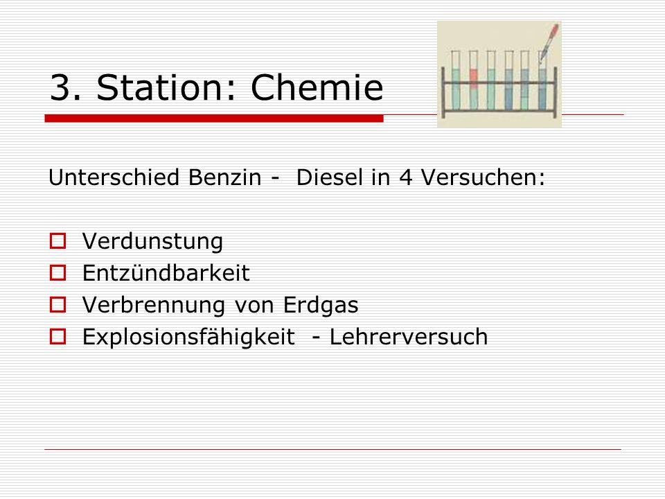 3. Station: Chemie Unterschied Benzin - Diesel in 4 Versuchen: