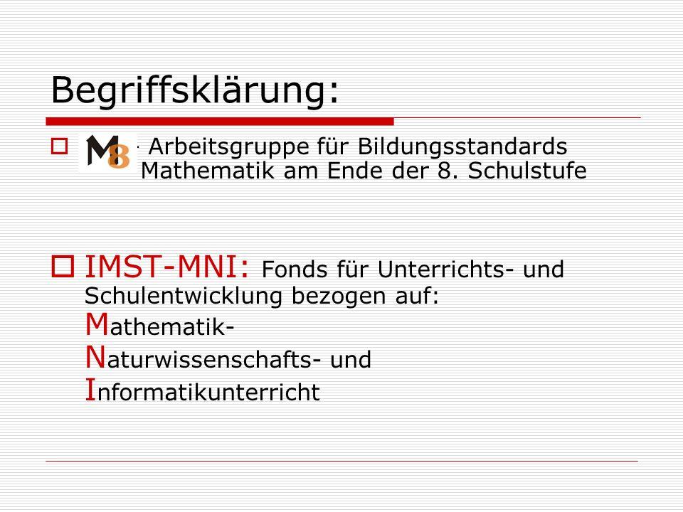 Begriffsklärung: M8 – Arbeitsgruppe für Bildungsstandards Mathematik am Ende der 8. Schulstufe.