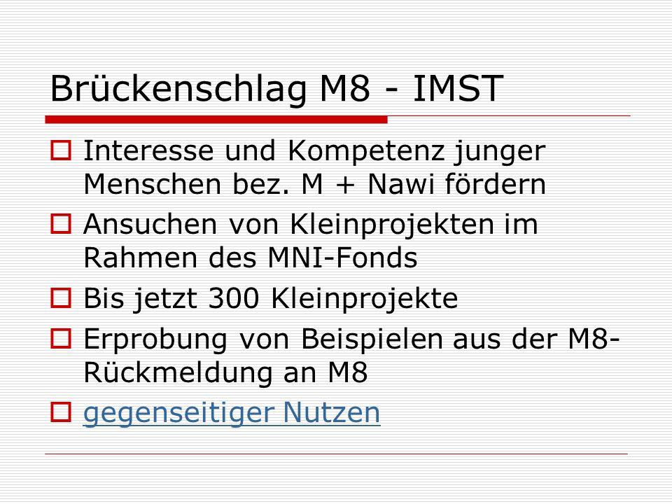 Brückenschlag M8 - IMST Interesse und Kompetenz junger Menschen bez. M + Nawi fördern. Ansuchen von Kleinprojekten im Rahmen des MNI-Fonds.
