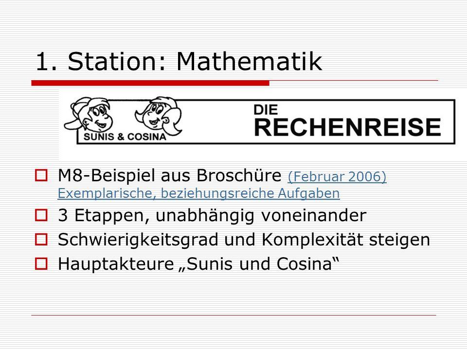 1. Station: Mathematik M8-Beispiel aus Broschüre (Februar 2006) Exemplarische, beziehungsreiche Aufgaben.
