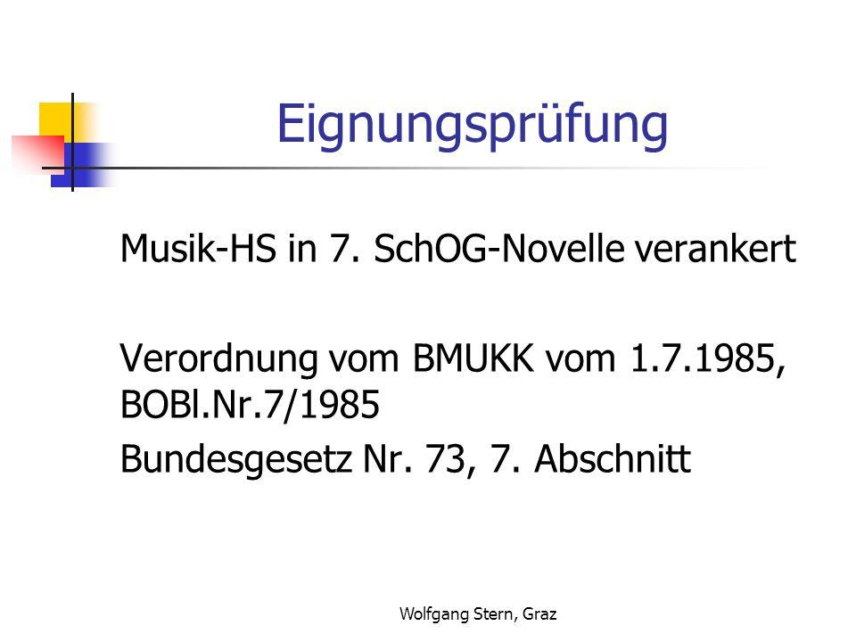 Eignungsprüfung Musik-HS in 7. SchOG-Novelle verankert
