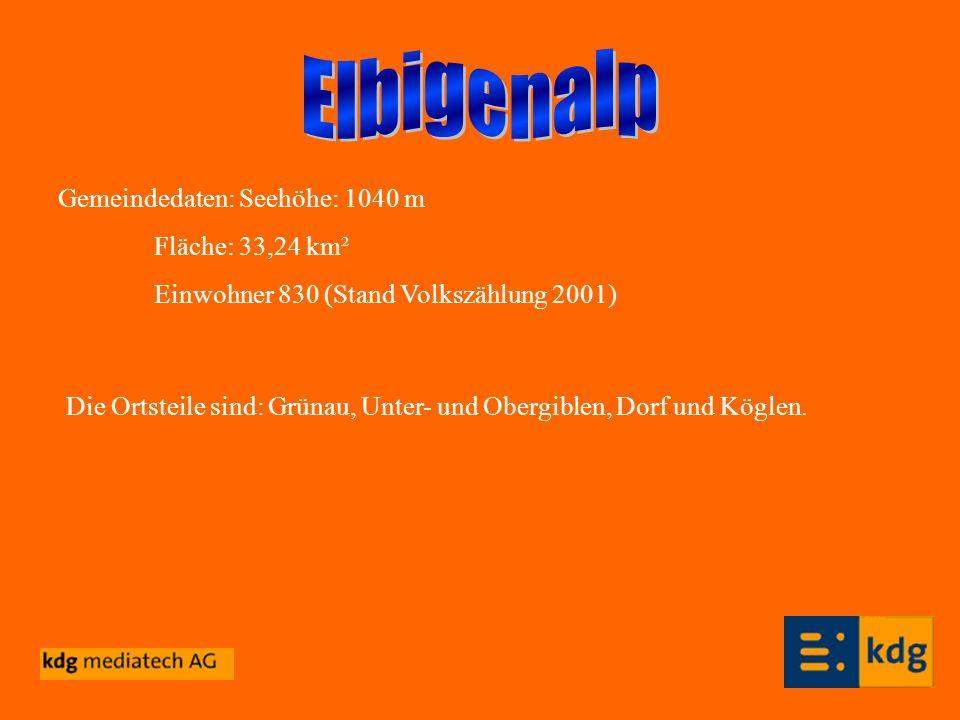 Elbigenalp Gemeindedaten: Seehöhe: 1040 m Fläche: 33,24 km²