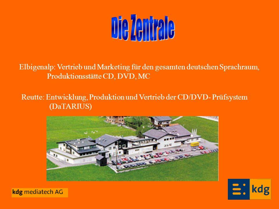 Die Zentrale Elbigenalp: Vertrieb und Marketing für den gesamten deutschen Sprachraum, Produktionsstätte CD, DVD, MC.