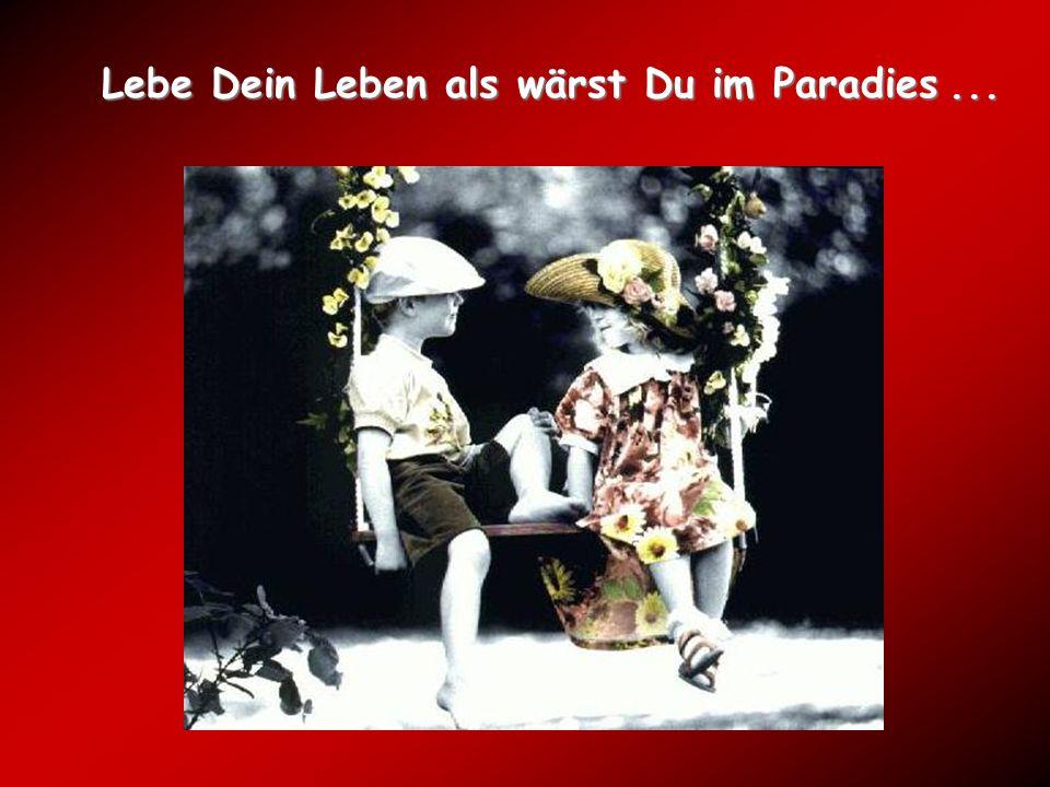 Lebe Dein Leben als wärst Du im Paradies ...