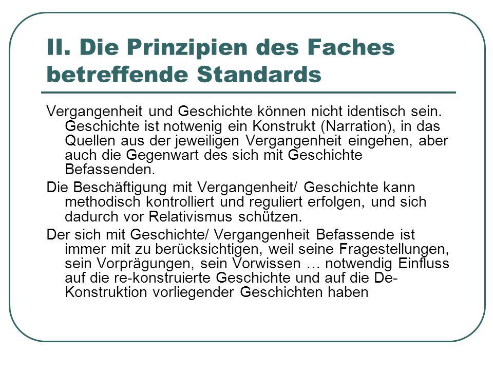 II. Die Prinzipien des Faches betreffende Standards