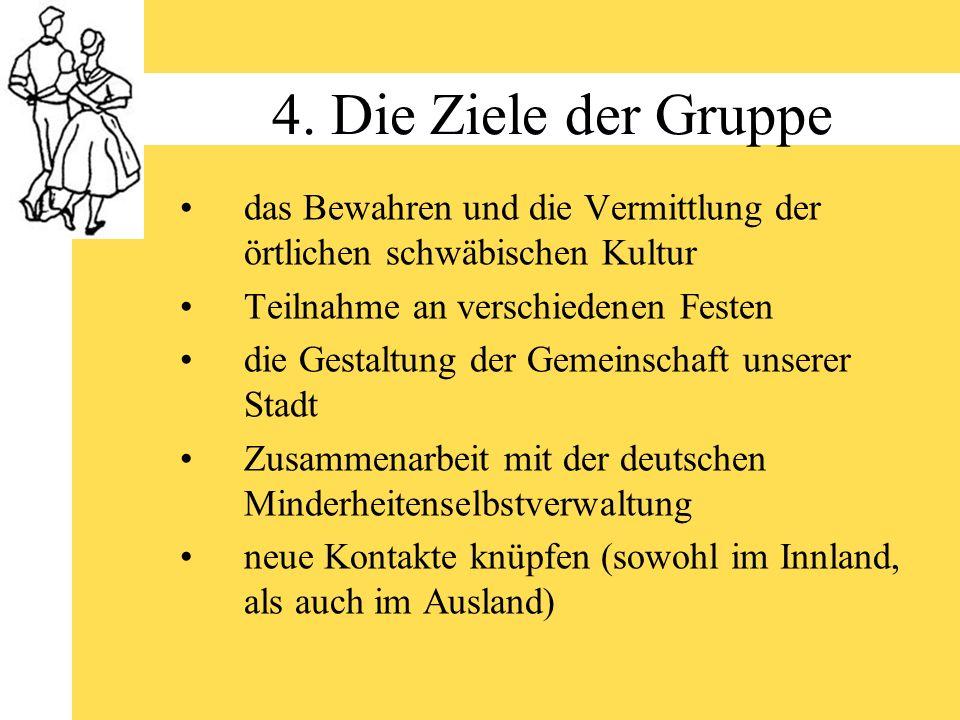 4. Die Ziele der Gruppe das Bewahren und die Vermittlung der örtlichen schwäbischen Kultur. Teilnahme an verschiedenen Festen.
