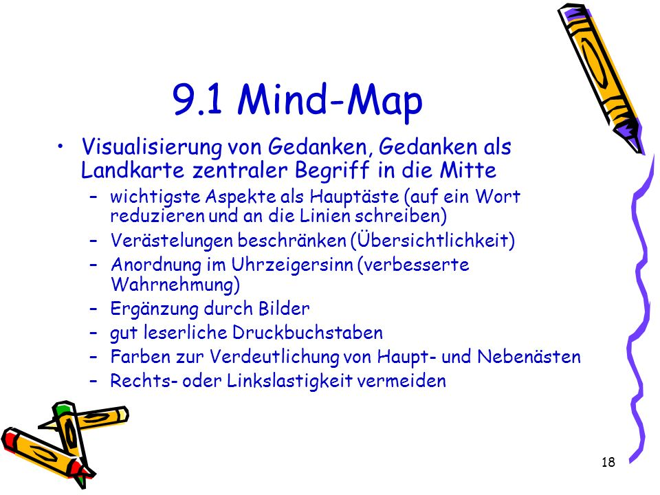 9.1 Mind-Map Visualisierung von Gedanken, Gedanken als Landkarte zentraler Begriff in die Mitte.