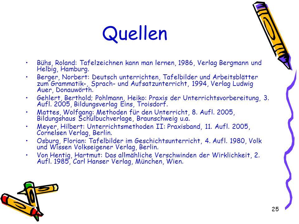 Quellen Bühs, Roland: Tafelzeichnen kann man lernen, 1986, Verlag Bergmann und Helbig, Hamburg.