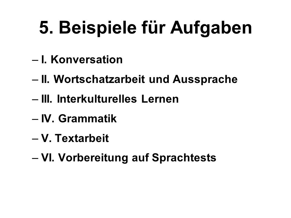 5. Beispiele für Aufgaben