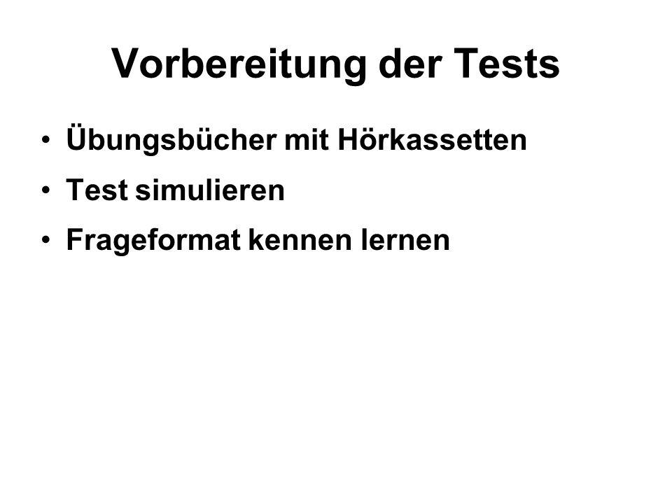 Vorbereitung der Tests