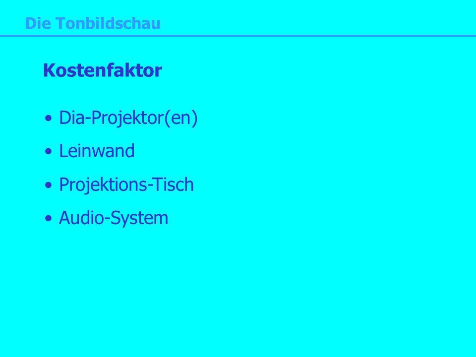 Kostenfaktor Dia-Projektor(en) Leinwand Projektions-Tisch Audio-System
