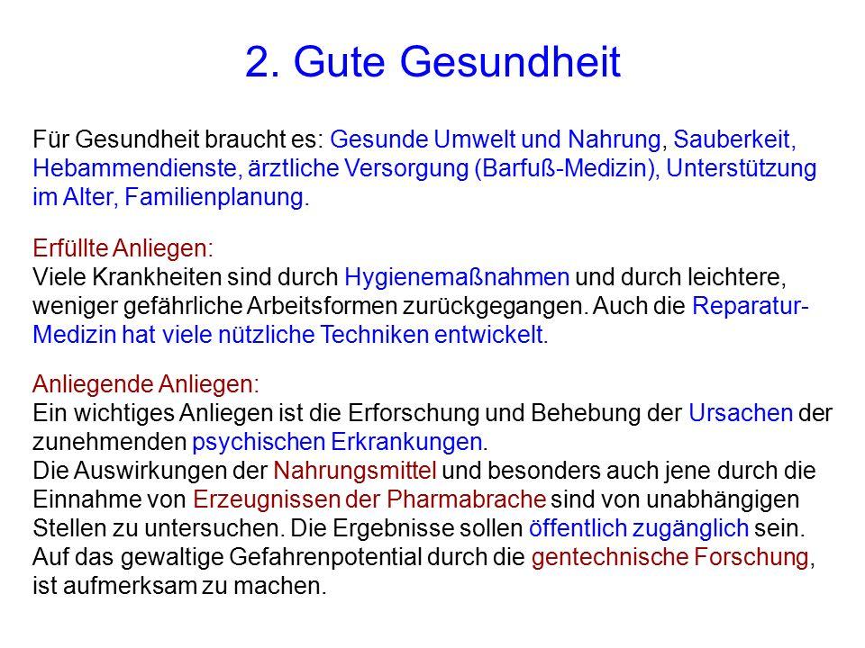2. Gute Gesundheit