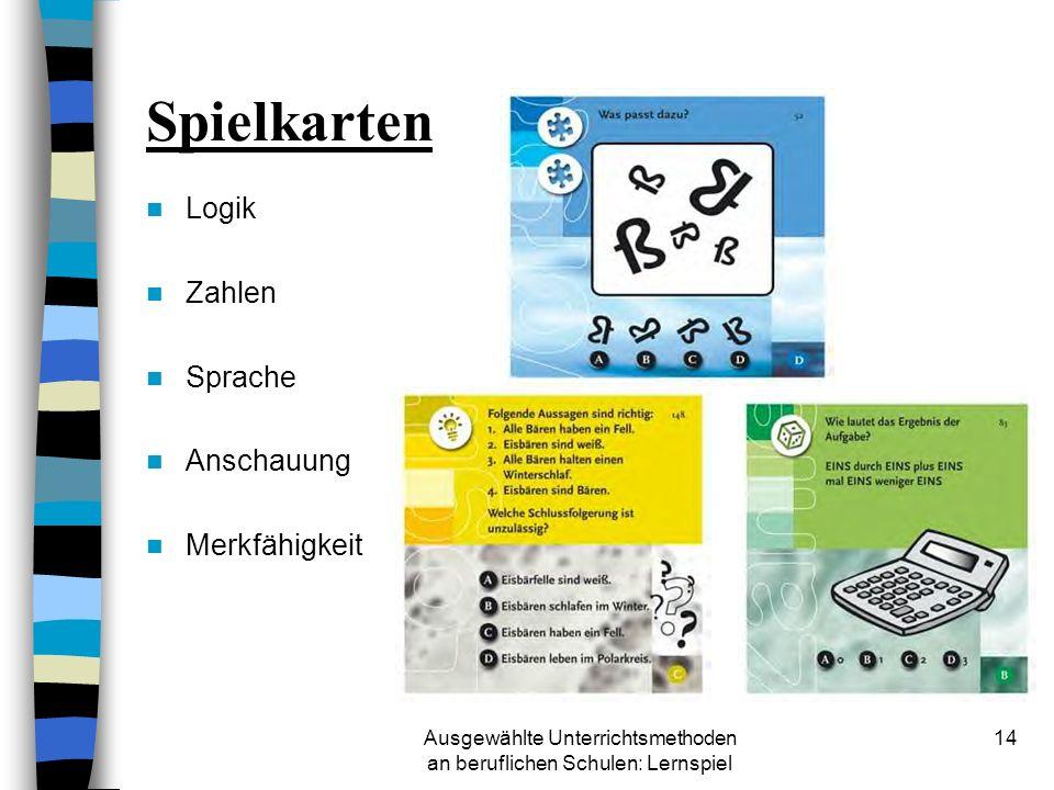 Ausgewählte Unterrichtsmethoden an beruflichen Schulen: Lernspiel