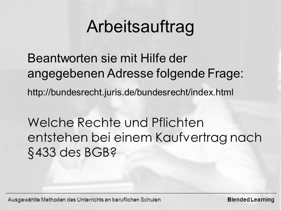 Arbeitsauftrag Beantworten sie mit Hilfe der angegebenen Adresse folgende Frage: http://bundesrecht.juris.de/bundesrecht/index.html.