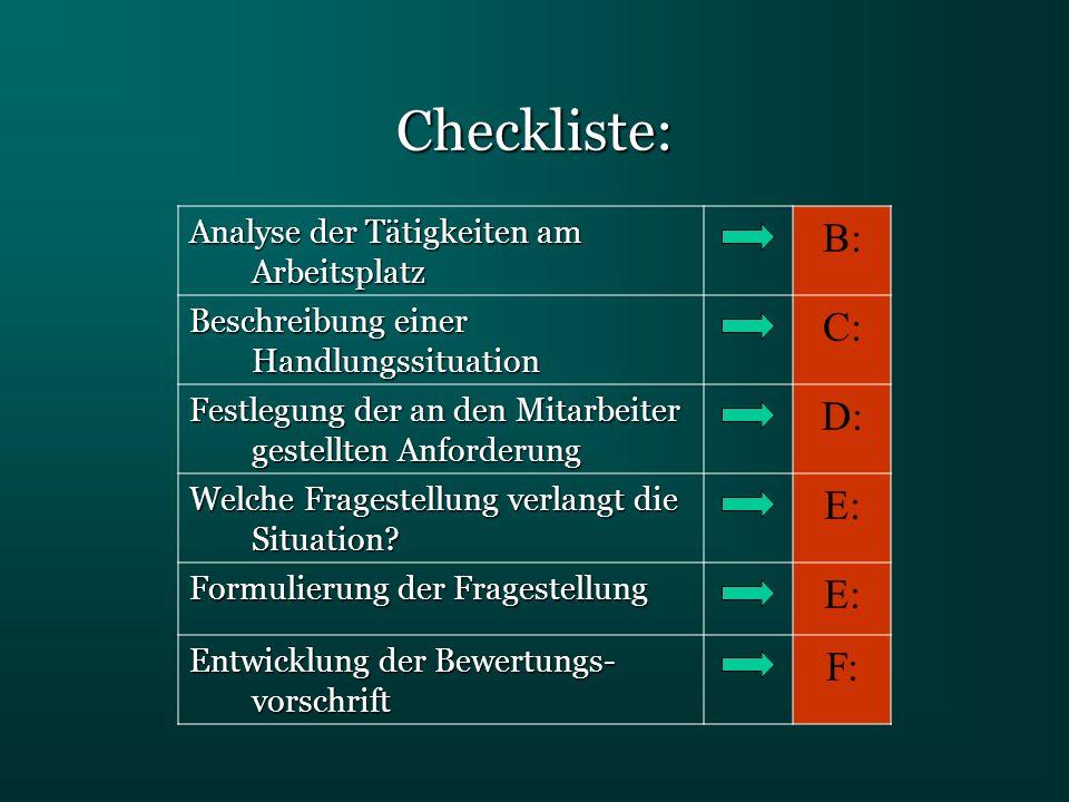 Checkliste: B: C: D: E: F: Analyse der Tätigkeiten am Arbeitsplatz