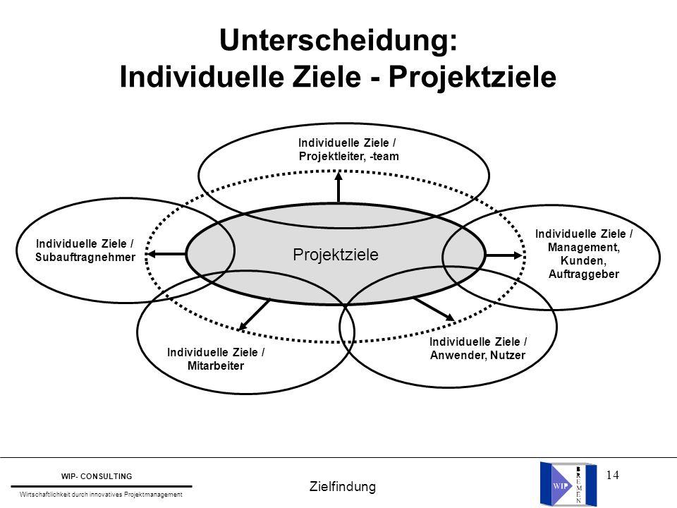 Individuelle Ziele - Projektziele