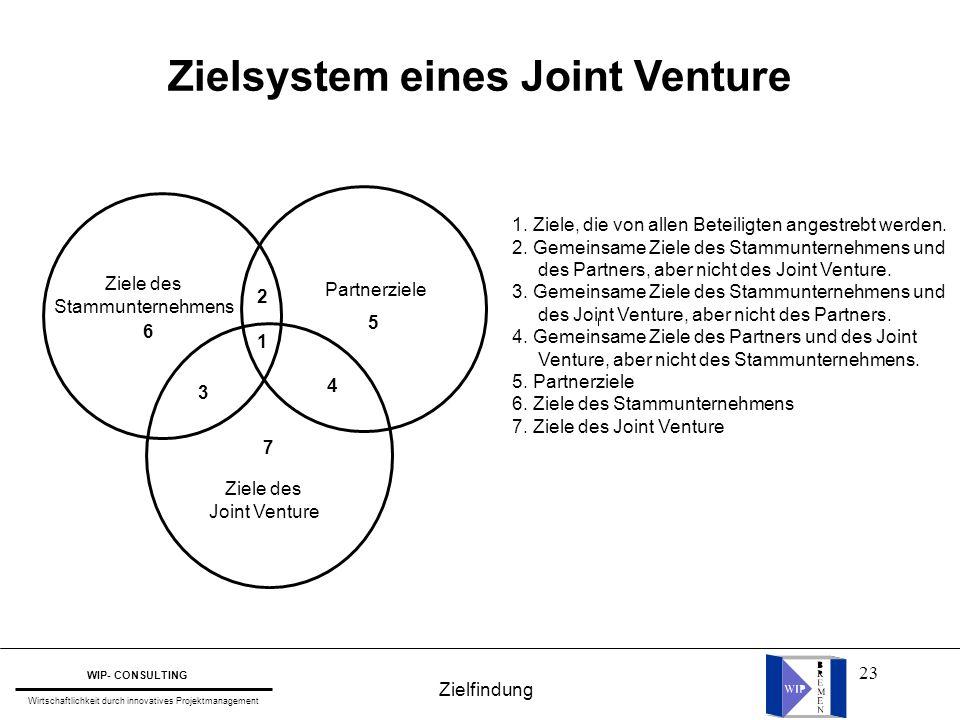 Zielsystem eines Joint Venture
