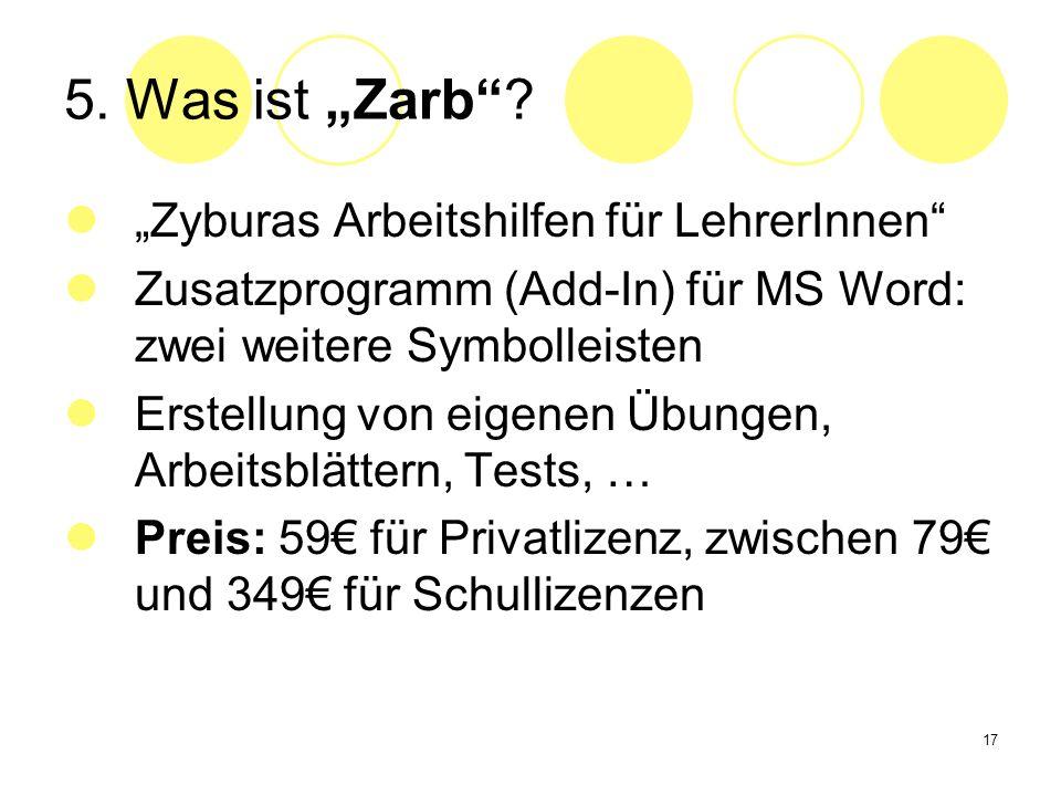 """5. Was ist """"Zarb """"Zyburas Arbeitshilfen für LehrerInnen"""