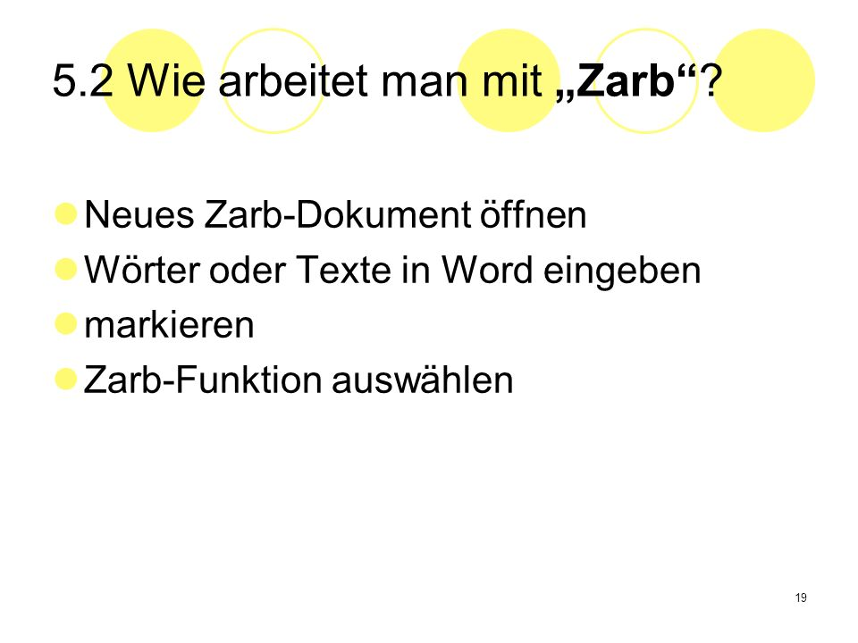 """5.2 Wie arbeitet man mit """"Zarb"""