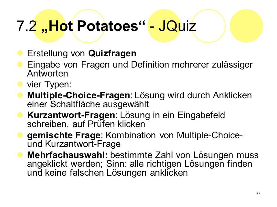 """7.2 """"Hot Potatoes - JQuiz Erstellung von Quizfragen"""