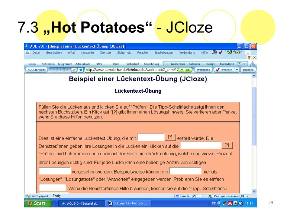 "7.3 ""Hot Potatoes - JCloze"