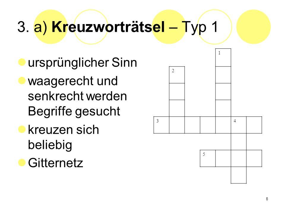 3. a) Kreuzworträtsel – Typ 1