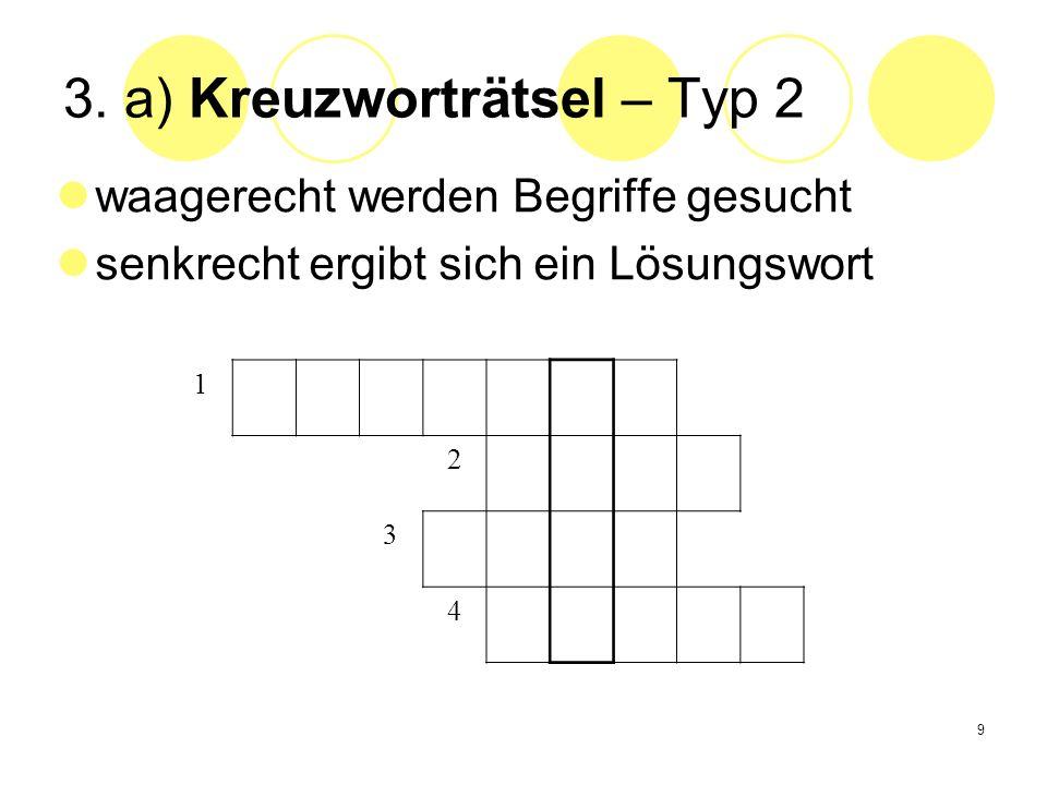 3. a) Kreuzworträtsel – Typ 2