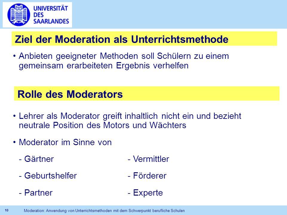 Ziel der Moderation als Unterrichtsmethode