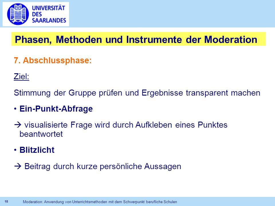 Phasen, Methoden und Instrumente der Moderation