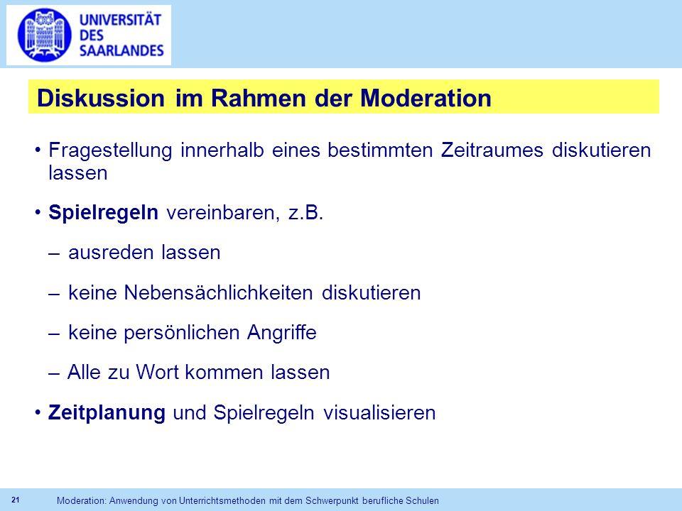 Diskussion im Rahmen der Moderation