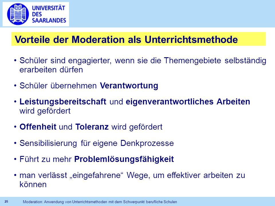 Vorteile der Moderation als Unterrichtsmethode