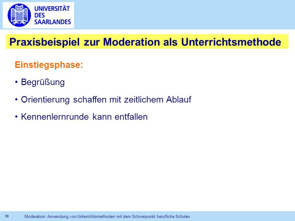 Praxisbeispiel zur Moderation als Unterrichtsmethode