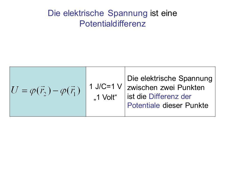 Die elektrische Spannung ist eine Potentialdifferenz